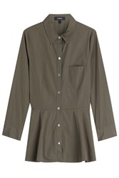 Theory Cotton Shirt With Peplum Green