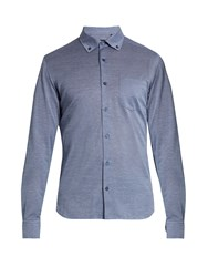 Ermenegildo Zegna Button Down Collar Cotton Jersey Shirt Blue