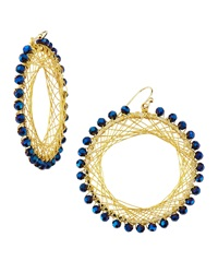 Nakamol Beaded Spiral Wire Earrings Blue