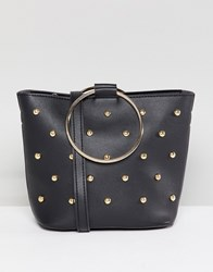 Melie Bianco Vegan Hoop Studded Bag Black