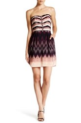 Charlie Jade Strapless Print Silk Dress Purple