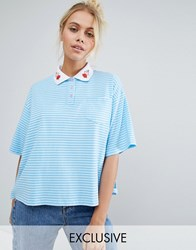 Lazy Oaf Valentines Exclusive Stripe Boxy Polo Top With Hearts Blue