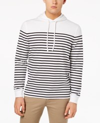 Club Room Men's Stripe Pullover Hoodie Created For Macy's Bright White