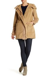 Dkny Hooded Faux Fur Wool Blend Coat Brown