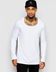 Asos Longline Long Sleeve T Shirt With Scoop Neck In White