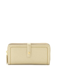 Neiman Marcus Saffiano Leather Zip Tab Long Wallet Gold