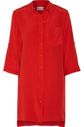 Milly Silk Crepe De Chine Mini Shirt Dress Red