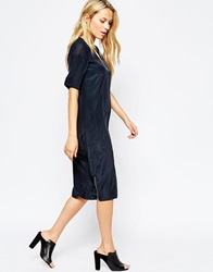 Neon Rose Cocoon Dress With Sheer Panel Black