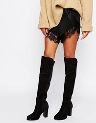 Truffle Collection Elasticated Knee Heel Boot Black Micro