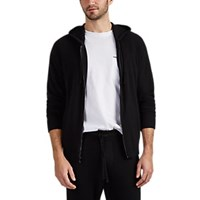James Perse Brushed Baby Cashmere Zip Front Hoodie Black