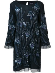 Marchesa Notte Sequin Embroidered Dress Blue