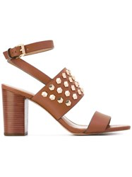 Michael Michael Kors Studded Sandals Women Leather Rubber 37 Brown