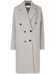 Christian Wijnants Oversized Double Breasted Coat Viscose Wool Grey