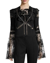 Elie Saab Lace And Crepe Bell Sleeve Top With Velvet Hearts Black