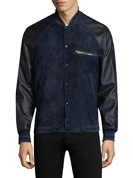 Paul Smith Suede Bomber Jacket Blue