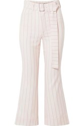 Orseund Iris Cropped Belted Pinstriped Wool Blend Flared Pants Cream