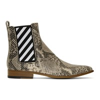 Off White Python Chelsea Boots
