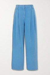 Brunello Cucinelli Pleated Denim Straight Leg Pants Blue