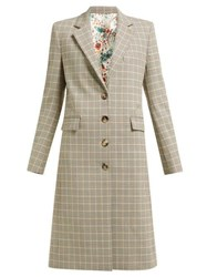 Paco Rabanne Checked Single Breasted Wool Blend Coat Brown Multi