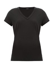 Joseph V Neck Cotton T Shirt Black