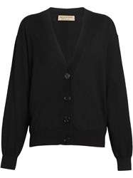 Burberry Vintage Check Detail Merino Wool Cardigan Black