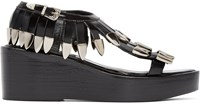 Toga Pulla Black Fringed Leather Sandals