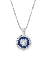 Bloomingdale's Sapphire And Diamond Halo Pendant Necklace In 14K White Gold 18
