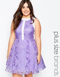 So London Plus Prom Dress In Floral Organza Purple