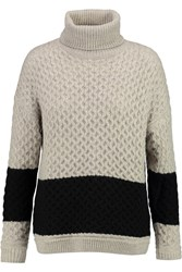 Halston Turtleneck Textured Knit Sweater Gray
