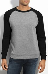 Alternative Apparel Men's 'The Champ' Trim Fit Colorblock Sweatshirt Eco Grey Eco True Black