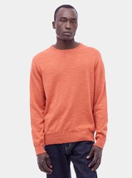Ymc Orange Bel Airs Linen Crew Neck Sweater