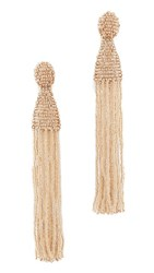 Oscar De La Renta Long Beaded Tassel Clip On Earrings Pebble