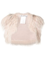 Oscar De La Renta Open Bolero Women Silk Fox Fur S Pink Purple