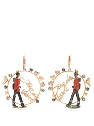 Francesca Villa Rose Gold Sapphire Toy Soldier Earrings Red