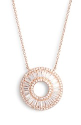 Nina 'S Baguette Cubic Zirconia Circle Pendant Necklace Rose Gold White Cz