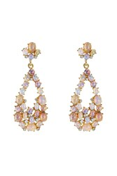Kenneth Jay Lane Opalescent Drop Earrings With Crystal Embellishment Purple