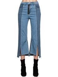 J Brand Kozaburo Asymmetrical Cotton Denim Jeans Light Blue
