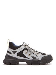 Gucci Flashtrek Reflective Leather Trainers Silver
