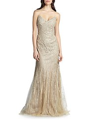 Rene Ruiz Strapless Embroidered Tulle Gown Gold
