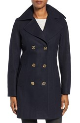 Michael Michael Kors Women's Long Double Breasted Peacoat Navy