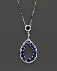 Bloomingdale's Sapphire And Diamond Teardrop Pendant Necklace In 14K White Gold 15 White Blue
