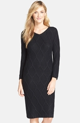 Marc New York Metallic Cable Knit Sweater Dress Black