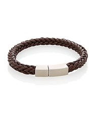 Lotus Leather And Stainless Steel Braided Bracelet Brown