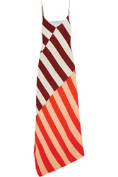 Jonathan Saunders Connie Asymmetric Striped Crepe Maxi Dress Burgundy Orange