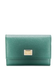 Dolce And Gabbana Logo Plaque Trifold Wallet Green