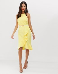 Paper Dolls Belted Halter Neck Frill Midi Dress Yellow