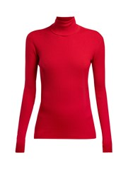 Dolce And Gabbana Ribbed Roll Neck Sweater Burgundy