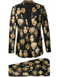 Dolce And Gabbana Sacred Heart Print Suit Black