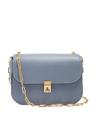 Valentino Link Chain Leather Cross Body Bag Mid Grey