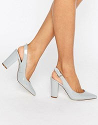 New Look Leather Sling Back Heeled Shoe Grey